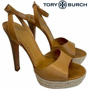 Tory Burch Bradshaw platform espadrille heels Sz 8